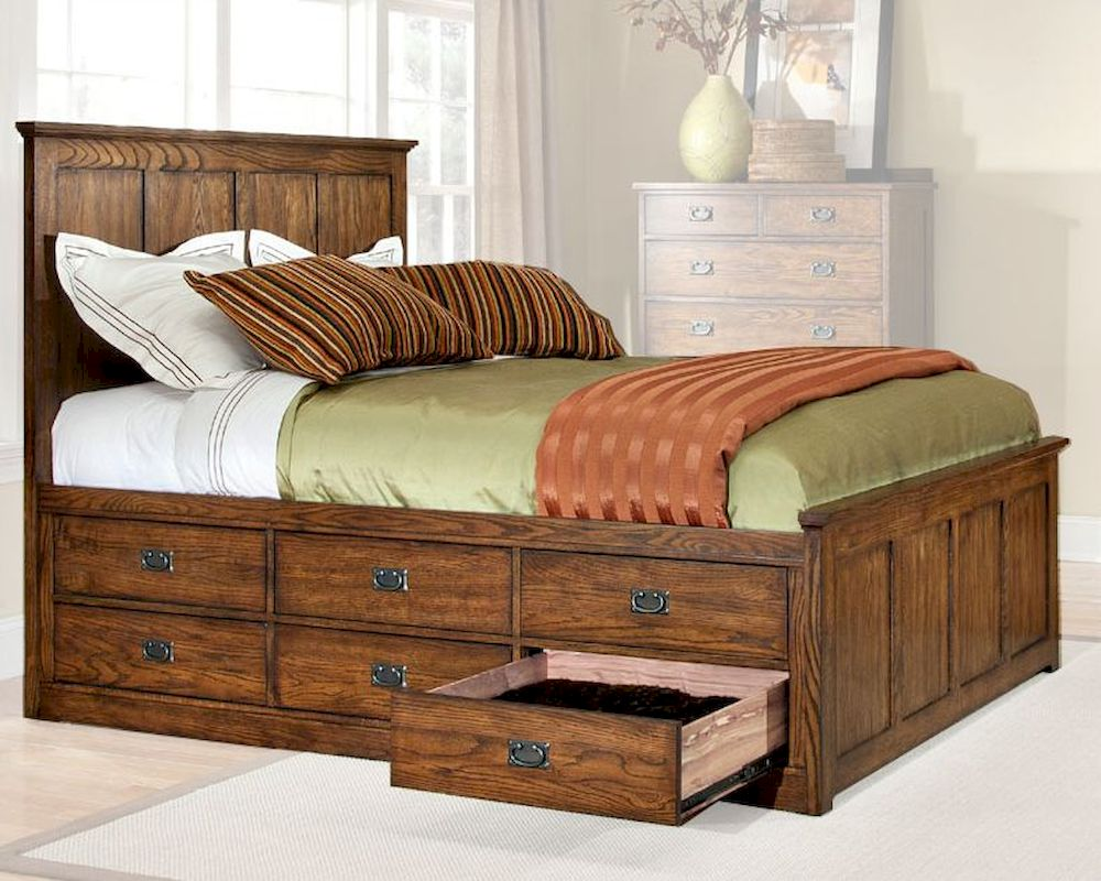 Intercon 6 Drawer Storage Bed Oak Park In Op Br 5850 6bed