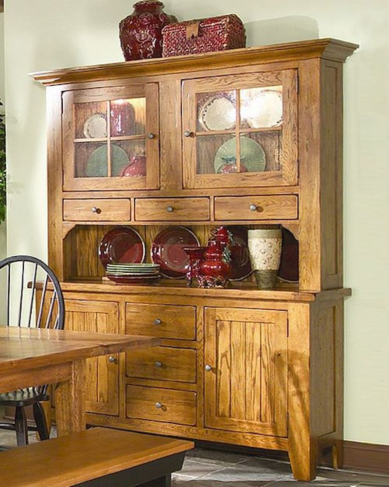 Intercon Solid Oak Buffet and Hutch Rustic Traditions INRT17