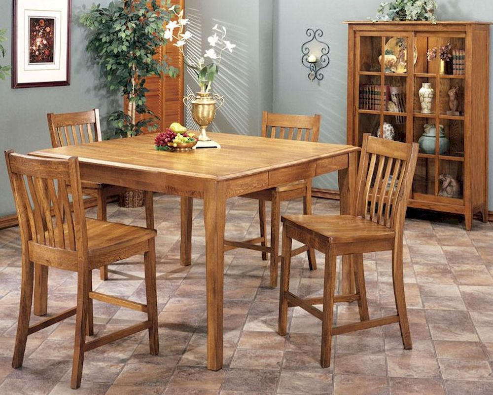 Intercon solid oak counter height dining set cambridge for Counter height dining set
