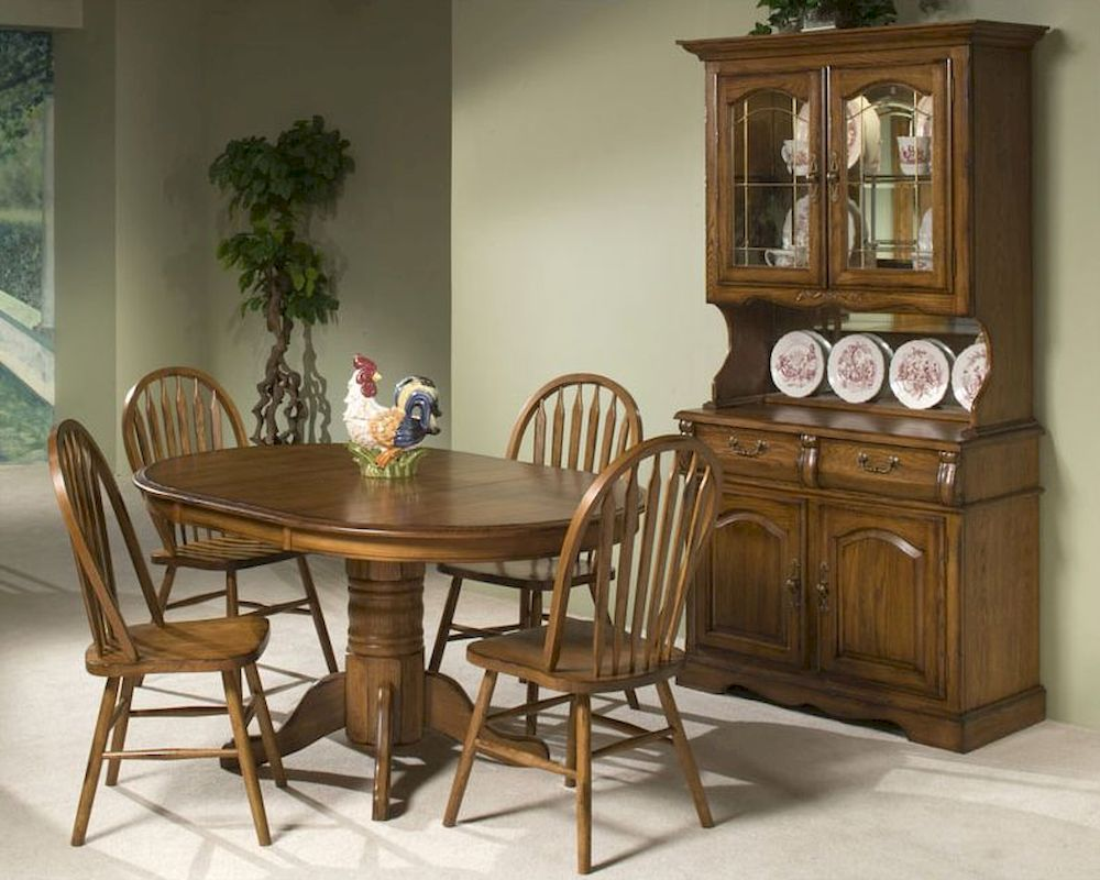 Intercon Solid Oak Pedestal Dining Set Classic Oak INCOI4260SET