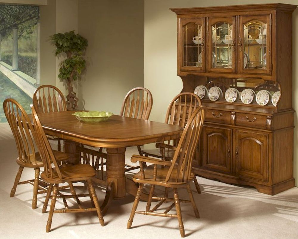 Intercon Solid Oak Trestle Dining Set Classic INCOI4296SET