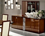 Italian 4 Door Buffet and Mirror in Walnut Roma 33228RO