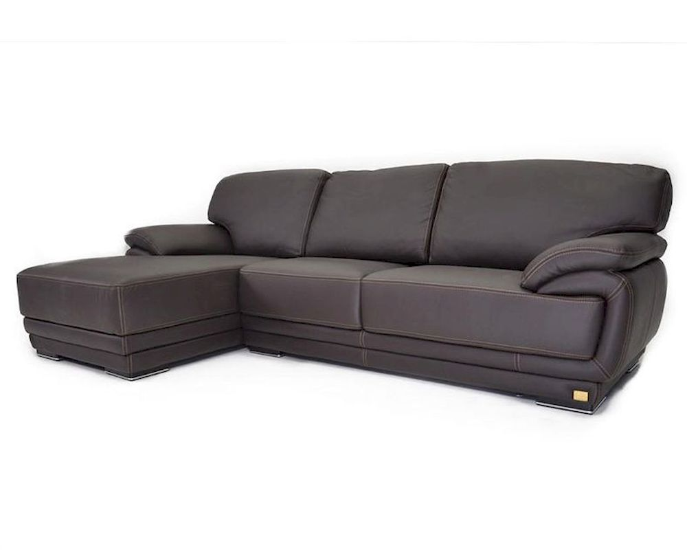 Italian Brown Leather Sectional Sofa 44l6112 G
