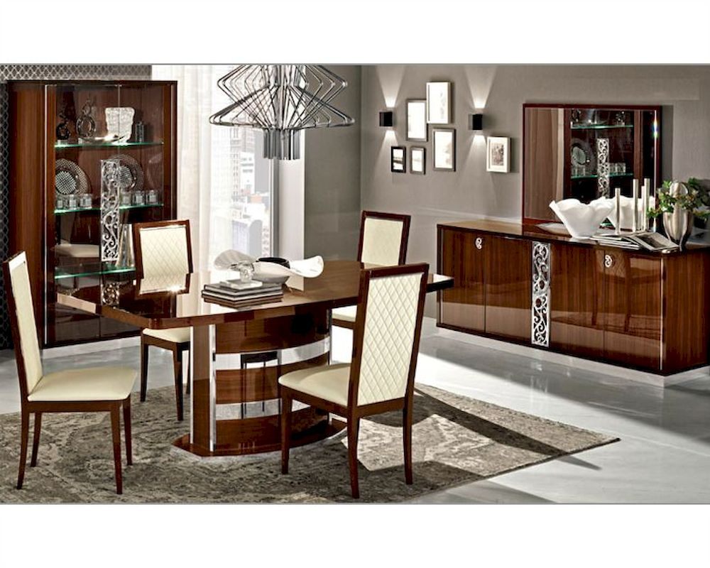 Italian dining room set in walnut roma 3323ro for Italian dining room sets
