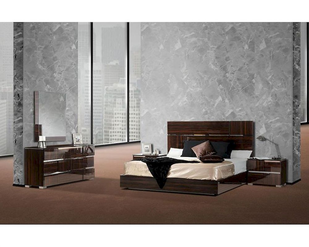 Italian Lacquer Ebony Bedroom Set W Silver Accent 44b115set