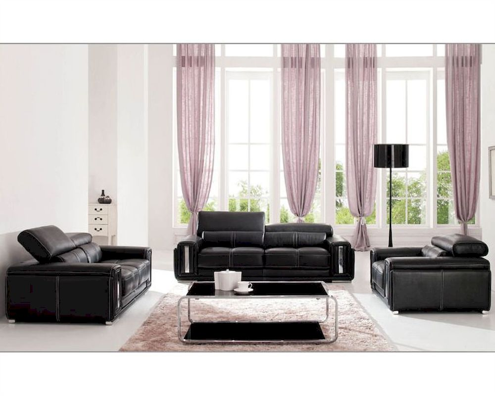 Italian leather living room set in black esf2992set for Black living room set