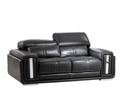 Italian Leather Loveseat in Black ESF2992L