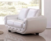 Italian Leather Loveseat in White Finish 33SS303