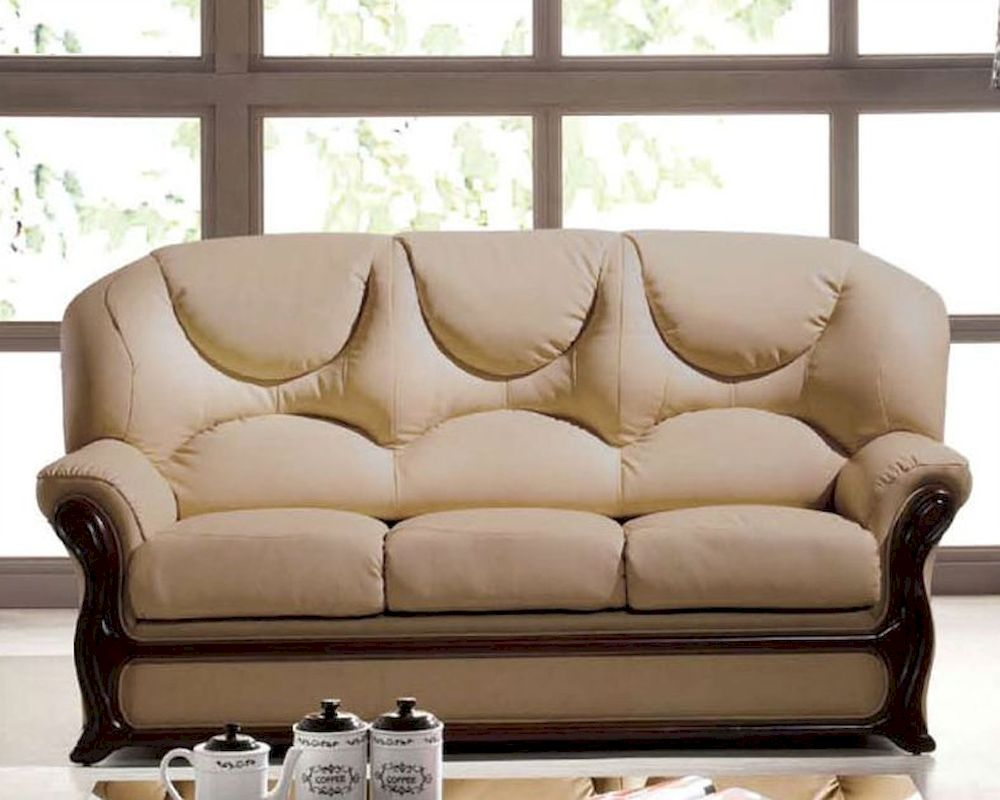 italian leather sofa bed european design in beige finish