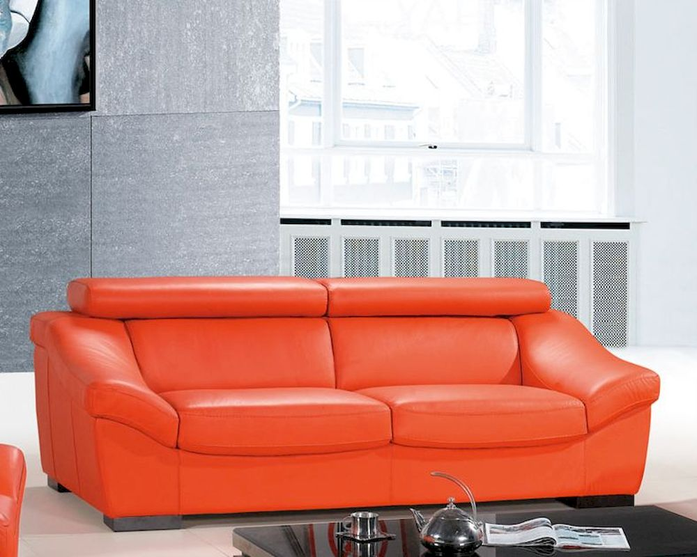italian leather sofa european design in orange finish 33ss272. Black Bedroom Furniture Sets. Home Design Ideas