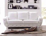Italian Leather Sofa in White Finish 33SS302