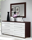 Italian Modern Two Tone Dresser and Mirror in Brown Finish 33B224