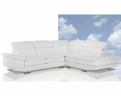 Italian White Leather Sectional Sofa 44L6010