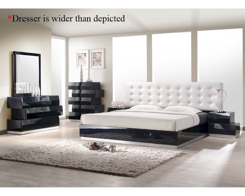 J m milan bedroom set in black jm sku176871set for M s bedroom furniture