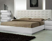 J&M Milan Queen/King Platform Bed in White JM-SKU17687BED