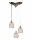 ELK Kersey Collection 3 Light Chandelier in Satin Nickel EK-10341-3