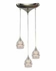 ELK Kersey Collection 3 Light Chandelier in Satin Nickel EK-10342-3