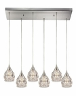 ELK Kersey Collection 6 Light Chandelier in Satin Nickel EK-10342-6RC