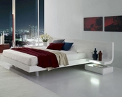 Lacquer Platform Bed w/ Built-In Nightstands & LED Lights 44B207BD