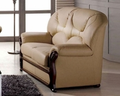 Leather Loveseat European Design in Beige Finish 33SS283