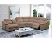 Leather Sectional Sofa w/ Beverage Console and Recliners 44L6006