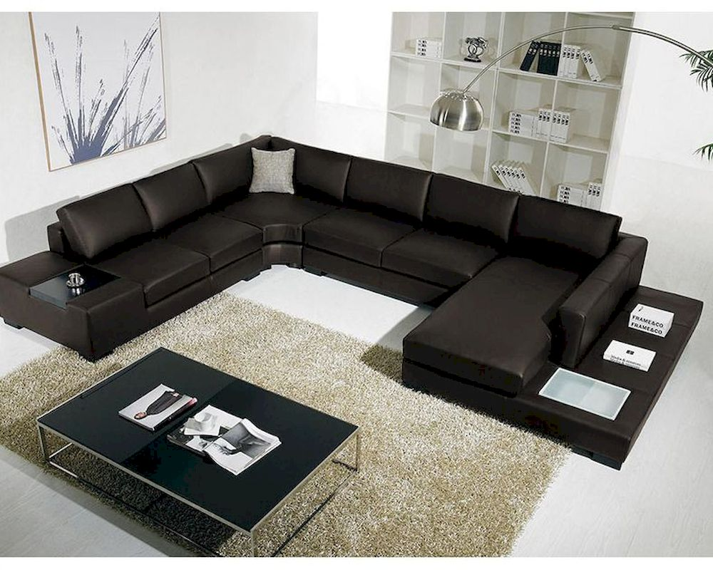 Leather Sectional Sofa W Lights In Brown 44l5984