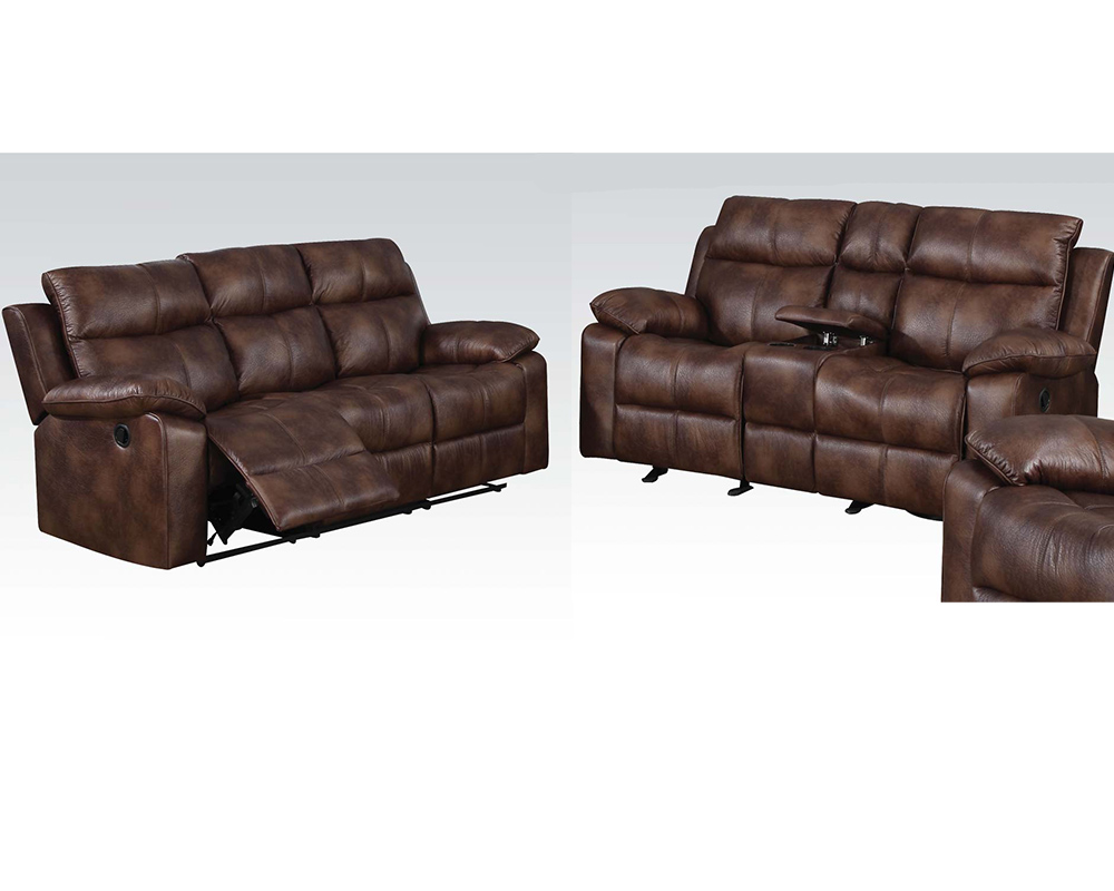 Light brown sofa set w motion dyson by acme furniture for Brown couch set