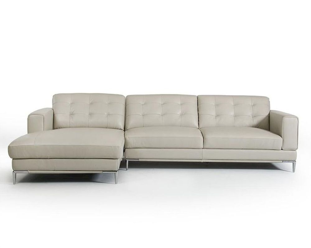 Light Grey Leather Sectional Sofa In Contemporary Style