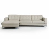 Light Grey Leather Sectional Sofa in Contemporary Style 44L5923