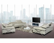 Light Grey Leather Sofa Set in Contemporary Style 44L5102
