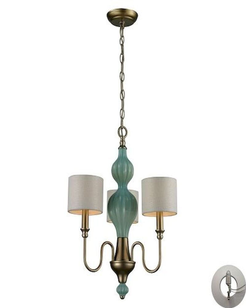ELK Lilliana 3 Light Chandelier in Seafoam and Aged Silver With ...