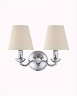 Lite Source 2 Lite Wall Lamp Chrome with White Fabric Shade LS-13992C