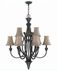 Lite Source 3-6 Lites Chandelier in Ant. Brown White Bantry LS-C7425