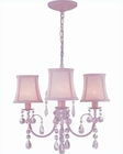 Lite Source 3 Lite Chandelier with Crystal Pink Shade LS-19528PINK