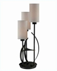 Lite Source 3 Lite Table Lamp Ant. Bronze Linen Fabric Shade LSF-22150
