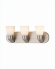Lite Source 3 Lite Vanity Wall Lamp SS w/ Glass Shade LS-16833SS-FRO