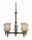 Lite Source 5 Lite Ceiling Lamp Bronze with Glass Shade LS-19415