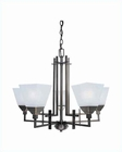 Lite Source 5 Lite Ceiling Lamp Copper with Frost Glass Shade LS-19765