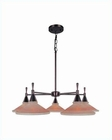 Lite Source 5 Lite Ceiling Lamp  Bronze w/ Amber Glass Shade LS-19955