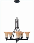 Lite Source 5 Lite Ceiling Lamp w/ Antique Bronze Amber Glass LS-19272
