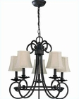 Lite Source 5 Lites Chandelier in Ant. Brass Fabric Kendall LS-C7417