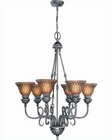 Lite Source 6 Lites Chandelier in Ant. Silver Amber Balfour LS-C7415