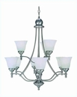 Lite Source 9 Lite Chandelier PS with Cloud Glass Shade LS-16389PS-CLD