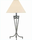 Lite Source Ant. Pewter Off White Fabric Shade Table Lamp LS-3780
