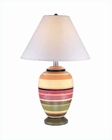Lite Source Banded Ceramic Body White Fabric Shade Table Lamp LS-2922