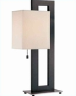 Lite Source Black PS w/ Off White Fabric Shade Table Lamp LS-2836