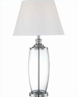 Lite Source Chrome Clear White Fabric Shade Table Lamp LSF-22134