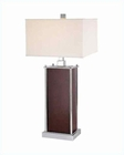 Lite Source Chrome  Walnut White Fabric Shade BriarTable Lamp LS-2843