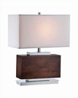 Lite Source Chrome  Walnut w/ White Fabric Firmino Table Lamp LS-22069