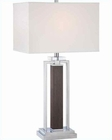 Lite Source Chrome  Walnut w/ White Fabric Table Lamp LS-22068